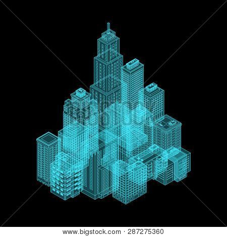 Vector Isometric Holography City. Vector Isometric City Building Icon Isolated On White Background.