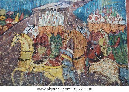 Closeup of fresco, monastry of Moldovita