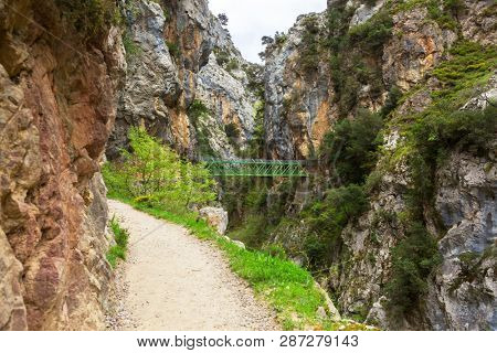 Hiking trail (Cares Trail or Ruta del Cares) along river Cares in cloudy spring  day( near  Cain), Picos de Europa National Park, province of Leon,  Spain.