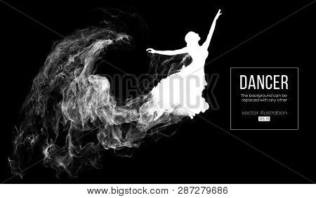 Abstract Silhouette Of A Dencing Girl, Woman, Ballerina On The Dark, Black Background From Particles