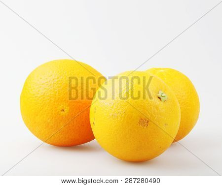 Ripe Orange Isolated On White Background Stock Photos