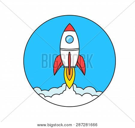 Startup Business Concept, Rocket Or Rocketship Launch, Idea Of Successful Business Project Start Up,