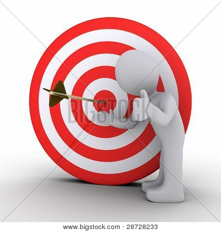 Person Satisfied Is Showing An Arrow In The Center Of Target