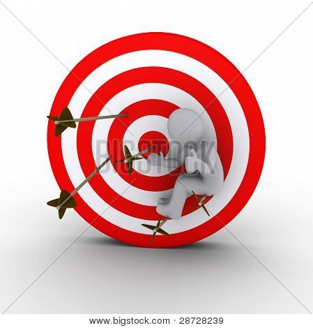 Person Sitting On Arrows Shot At A Target