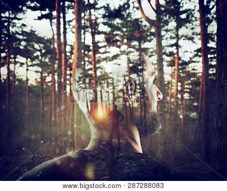 Boy With Himself In Mind In A Forest. Double Exposure