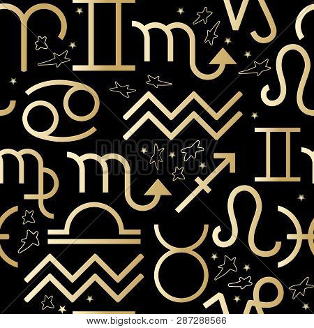 Seamless Pattern With Vector Golden Zodiac Signs On Black.