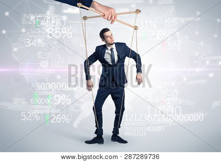 Subordinated puppet man with results numbers and financial concept