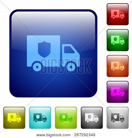 Money Deliverer Truck Icons In Rounded Square Color Glossy Button Set