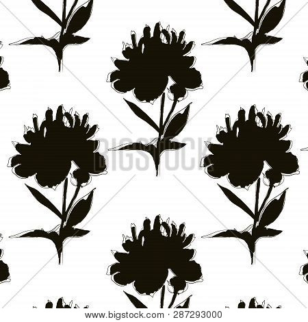 Black white peony illustration. Modern mononchrome repetition art. Botany pattern with repetiotion big flowers. poster