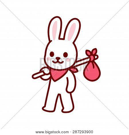 Bunny Vagabond Character Drawing. Simple And Cute Cartoon Bunny Travelling With Hobo Sack. Kawaii Ve