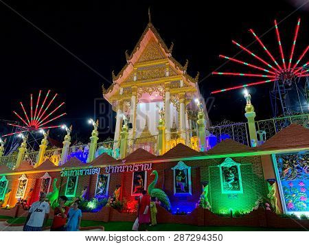 Night Festival Of Thai Temple With Colorful Neon Lamp On Makha Bucha Day Pranburi Thailand February