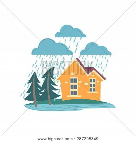 Family Home Under Strong Wind And Heavy Rainstorm Isolated On White Background