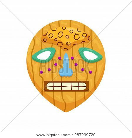 Prehistoric Round African Mask With Toothy Scary Mouth And Sad Eyes Isolated On White Background
