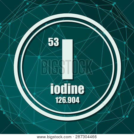 Iodine Chemical Element. Sign With Atomic Number And Atomic Weight. Chemical Element Of Periodic Tab