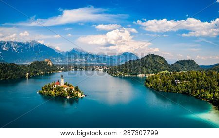 Slovenia - Aerial view resort Lake Bled.