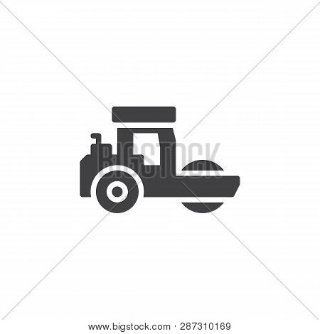 Road Roller Vector Icon. Filled Flat Sign For Mobile Concept And Web Design. Steamroller Truck Glyph