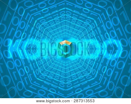 Banner, Poster Crypto Currency Symbol Komodo On Blue Background. Stock Illustration. Crypto Currency