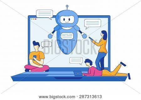 Young Men And Women Write Messages Using Chatbot. Vector Illustration On White Background. Cartoon S