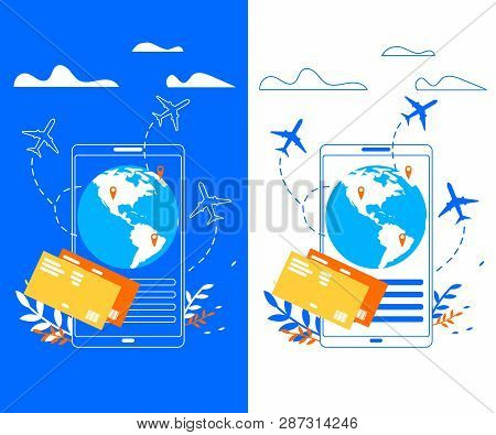 Touristic Online Services, Mobile Apps for Booking Airline Tickers, Searching Flight Schedules Flat Vector Banner Templates. Flight Pass, Airliner Flying around Globe, Travel Destinations Illustration poster