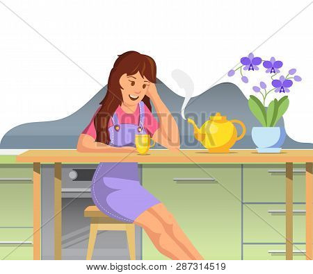 Vector Flat Beautiful Girl Woke Up Washed Up Sat Table Kitchen For Breakfast. Poured Hot Herbal Tea