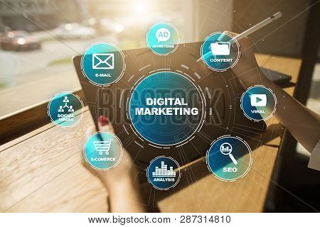 Digital Marketing Technology Concept. Internet. Online. Search Engine Optimisation. Seo. Smm. Video