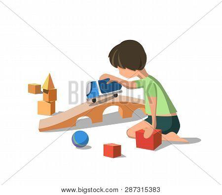 Vector Illustration Flat Little Boy In Green Tshirt Played In Typewriter Toy. Rides Bridge Next To R