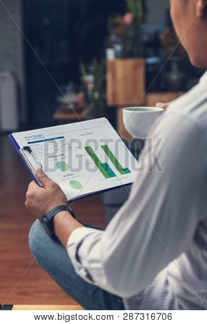 Business And Finance Concept Of Office Working, Businessman Analysing Investment Chart Business Plan