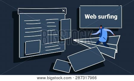 Man Flying On Paper Plane To Website Page Browser Web Surfing Concept Casual Guy In Winter Clothes B