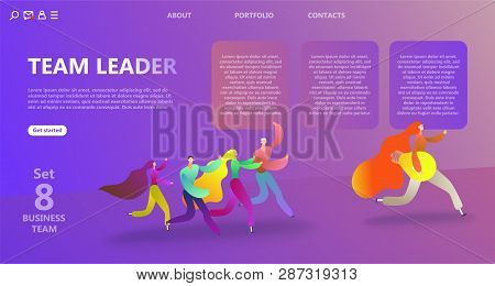 Business Landing Page Template. Team Work Landing Page Template. The Concept Of The Influence Of The