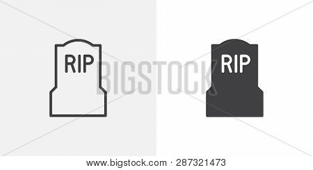 Tomb, Headstone Icon. Line And Glyph Version, Outline And Filled Vector Sign. Cemetery, Grave Linear
