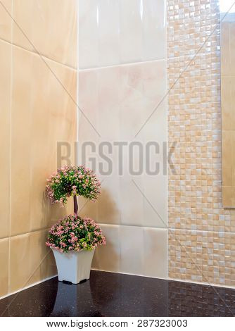 Plastic Bouquet In A Vase Decorate The Wall Corner In The Shower