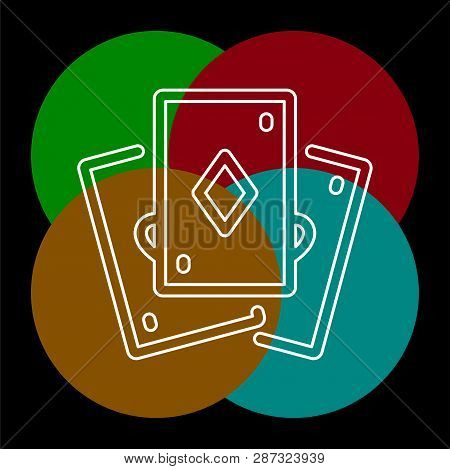 Playing Card Illustration - Casino Symbol - Playing Cards Sign, Gamble Icon. Thin Line Pictogram - O