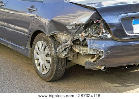 Fender Bender Traffic Accident Rear Car Damage
