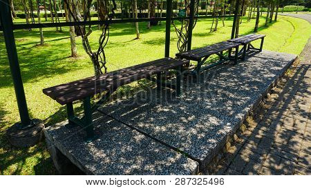 A Halte Bus With Wooden Bench And Green Grass Leaf Cover In Bogor Indonesia