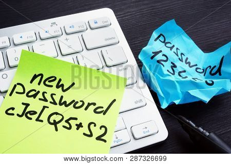 Strong And Weak Password On Pieces Of Paper. Password Security And Protection.
