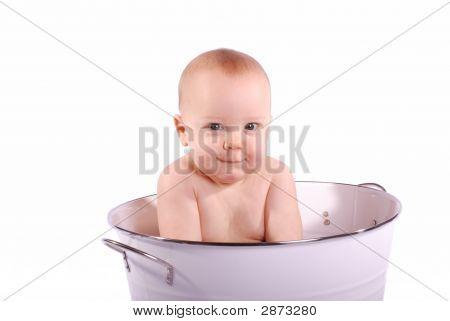 Cute, Shy Bath Baby On White
