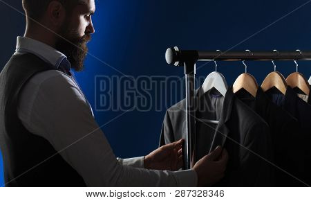 Mens Clothing, Shopping In Boutiques. Tailor, Tailoring. Stylish Mens Suit. Mens Suit, Tailor In His