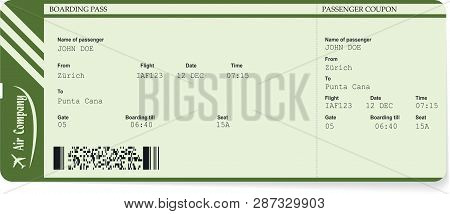 Green Vector Pattern Of A Boarding Pass Ticket. Concept Of Trip Or Travel. Boarding Pass Required Fo