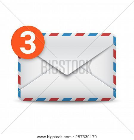 New Message Notification, Three Incoming Messages, Mail Or Email Icon. Envelope With Message Counter