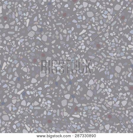 Grey Asphalt Road Texture. Vector Illustration. Seamless Pattern Background.