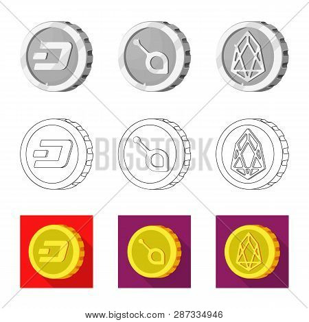 Vector Design Of Cryptocurrency And Coin Icon. Collection Of Cryptocurrency And Crypto Stock Vector