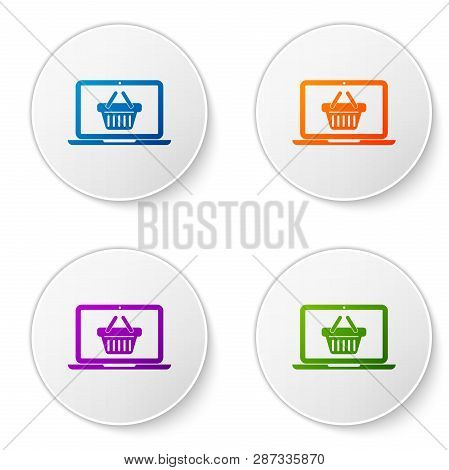 Color Shopping Basket On Screen Laptop Icon Isolated On White Background. Concept E-commerce, E-busi