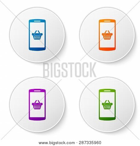 Color Shopping Basket On Screen Smartphone Icon Isolated On White Background. Concept E-commerce, E-