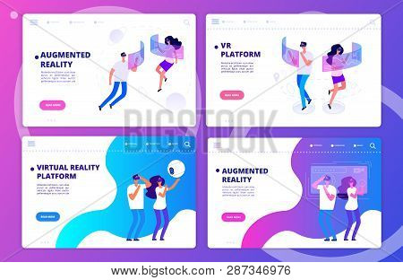 Augmented Reality, Virtual Reality Games And Platform Landing Page Templates Vector Set. Illustarati