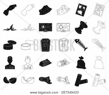 Garbage And Waste Black, Outline Icons In Set Collection For Design. Cleaning Garbage Vector Symbol