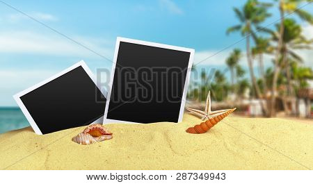 Photos On Sand Background. Object. Close Up. Macro Photography