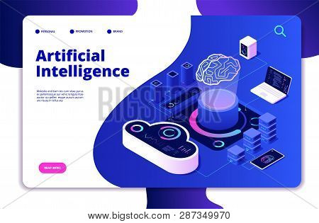 Artificial Intelligence Landing. Ai Smart Digital Brain Networking Neural Learning Intelligent Solut