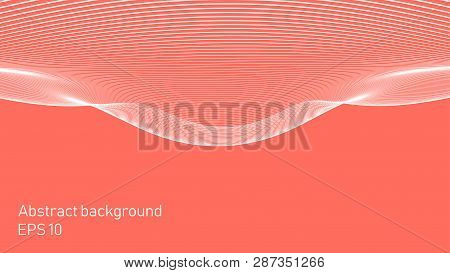 Futuristic Lines On The Background Of Coral Color.