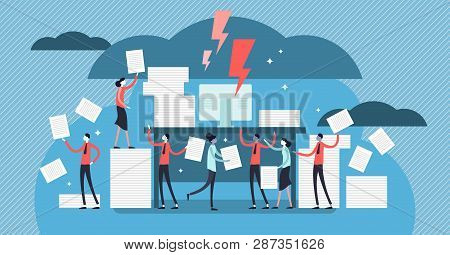 Bureaucracy Vector Illustration. Flat Tiny Paperwork Pile Persons Concept. Government Employee Job W