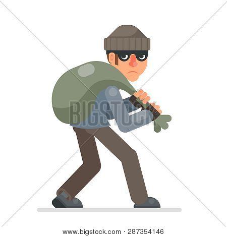 Housebreaker With Bag Of Loot Sneak Away Evil Greedily Thief Cartoon Rogue Bulgar Character Flat Des